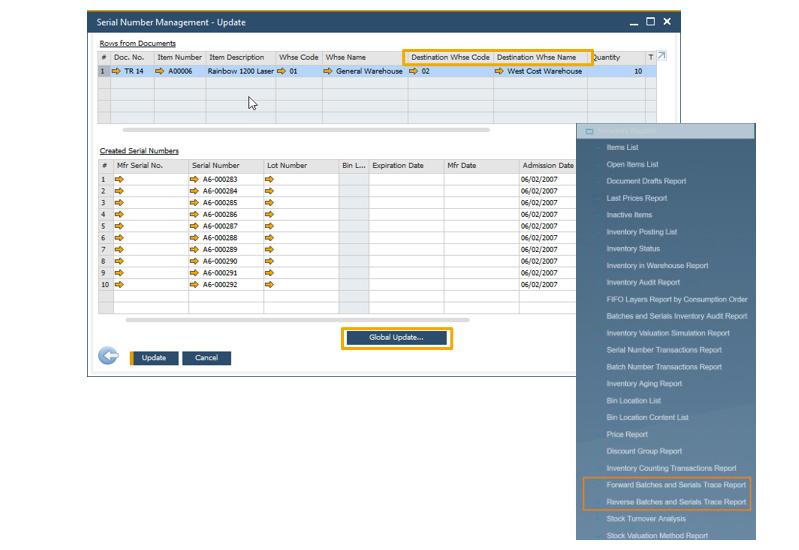 O gerenciamento de números de série e o gerenciamento de lotes agora incluem a capacidade de atualizar as faturas de reserva de contas a receber e as solicitações de transferência de estoque